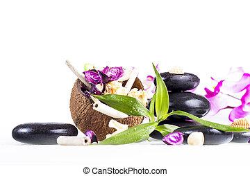 zen, pietre, e, noce di cocco,