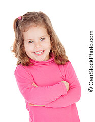 Little girl in pink isolated on a white background