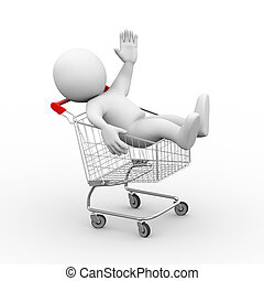 3d man in shopping cart trolley