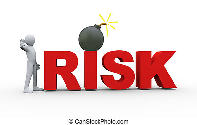 3d man text risk and bomb - 3d illustration of man with stop...