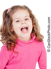 Little girl in pink laughing out loud isolated on a white...
