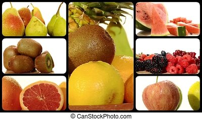 fruit collage on a white background