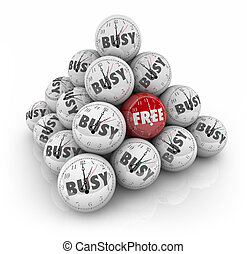 Free Vs Busy Time Sphere Ball Pyramid Spare Holiday Day...