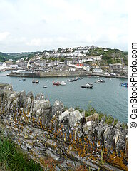 Mevagissey Harbour In Cornwall, England - Fishing boats in...