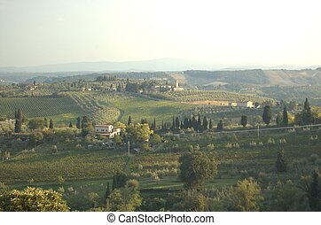 Italian Country side - a view of the Italian country side in...