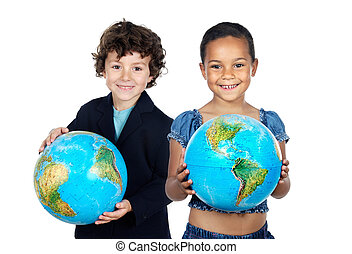 Two happy children learning geography isolated over white