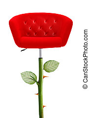 Red Chair with rose stem and thorn, clipping path and alpha...