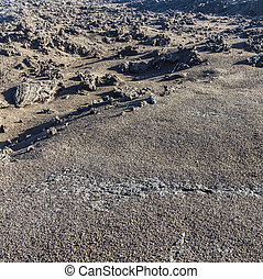 volcanic stone formations in Timanfaya National Park in Lanzarot