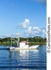 fisher boats get ready for night catch at Fairhope, USA....