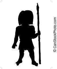 Cute savage - black silhouette of savage