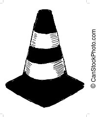traffic cone - black silhouette of traffic cone