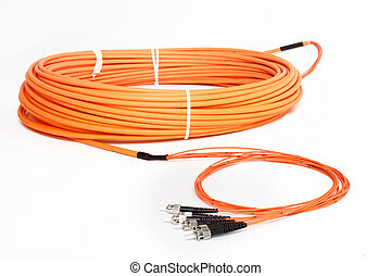 orange fiber optic ST connector patchcord - group of fiber...