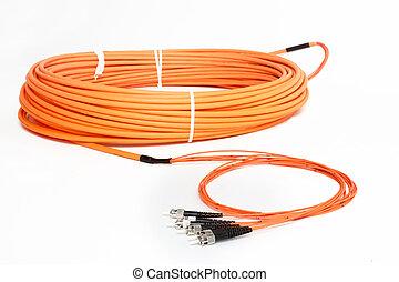 orange fiber optic ST connector patchcord - group of fiber...