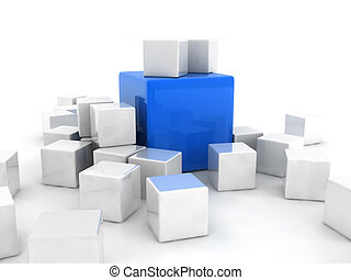 blue cube - a blue cube placed observably in a group of...