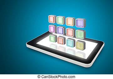 Tablet PC with cloud of colorful application icons
