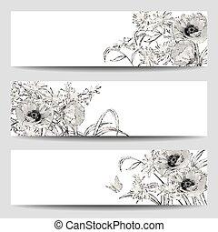 Vector Vintage Floral Banner - Vector vintage floral banners...
