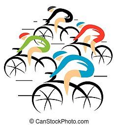 Bicycle road racers - Group of racing cyclistsVector...