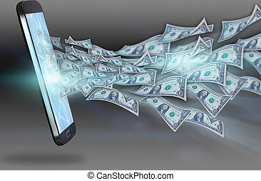 Dollars flying out of the smartphone.business concept