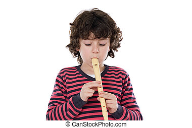 Adorable child playing flute on a over white background