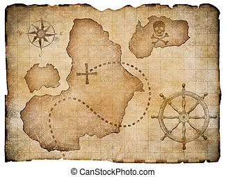 Old pirates parchment treasure map isolated Clipping path...