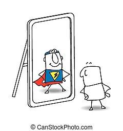 a, espelho,