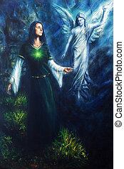 painting of a mystical woman in historical dress having a...