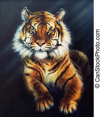 A beautiful oil painting on canvas of a mighty tiger looking...