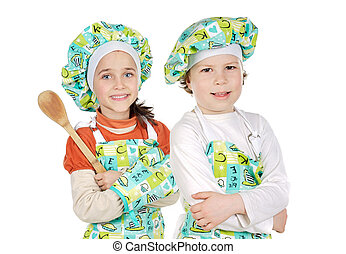 Children learning to cook
