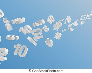 white number 10 flying on sky,digitally generated image.