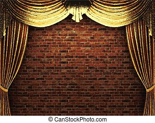 vector golden curtain background