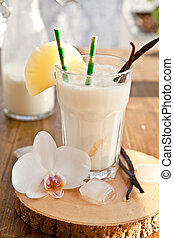 Pina Colada with pineapple - Pina Colada with pinapple and...