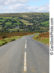 Country road to Widdecombe in the Moor, Dartmoor England