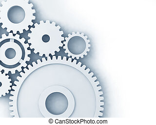 3D gears - 3D clean gear models on white background