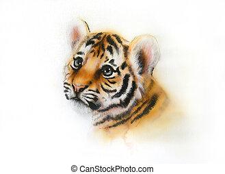 adorable baby tiger head looking up on white background -...