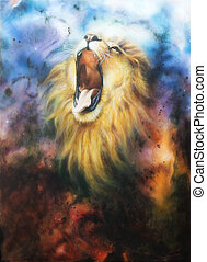 airbrush painting of a roaring lion on a abstract cosmical -...
