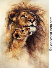 beautiful airbrush painting of a loving lion and her baby...