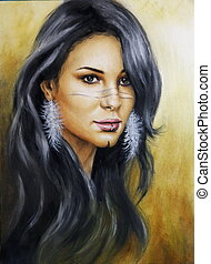 beautiful airbrush portrait of a young enchanting woman face...