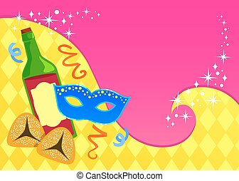 purim card - colorful greeting card template for Purim with...
