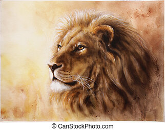 lion head with a majesticaly peaceful expression - A...