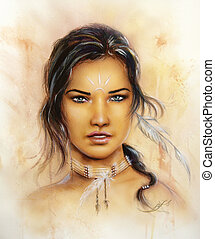 portrait of a young enchanting woman face with feathers - A...