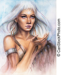 beautiful airbrush portrait of a young enchanting woman...