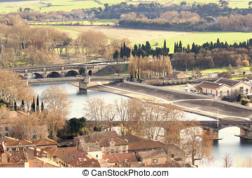 Beziers France - View of Beziers lower town from the...