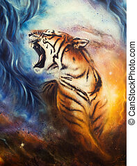 beautiful airbrush painting of a roaring tiger on a abstract...