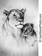 beautiful airbrush painting of a loving lion mother and her...