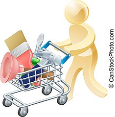 Person with tools shopping cart - A mascot character person...