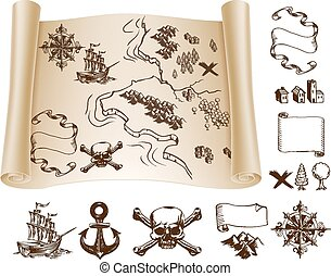 Treasure map kit - Example map and design elements to make...
