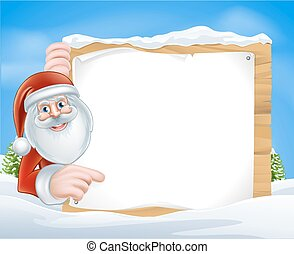 Christmas Cartoon Santa Sign - Santa Claus pointing at a...