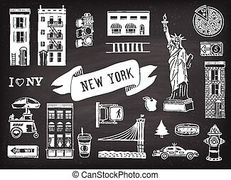 New York - Vector set of New York city icons