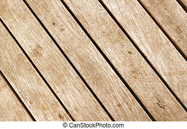Close up of wood decking planks.