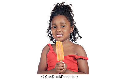Girl eating ice cream - Little girl eating ice cream orange...